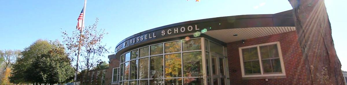 Russel School In Autumn after the leaves have turned red and orange