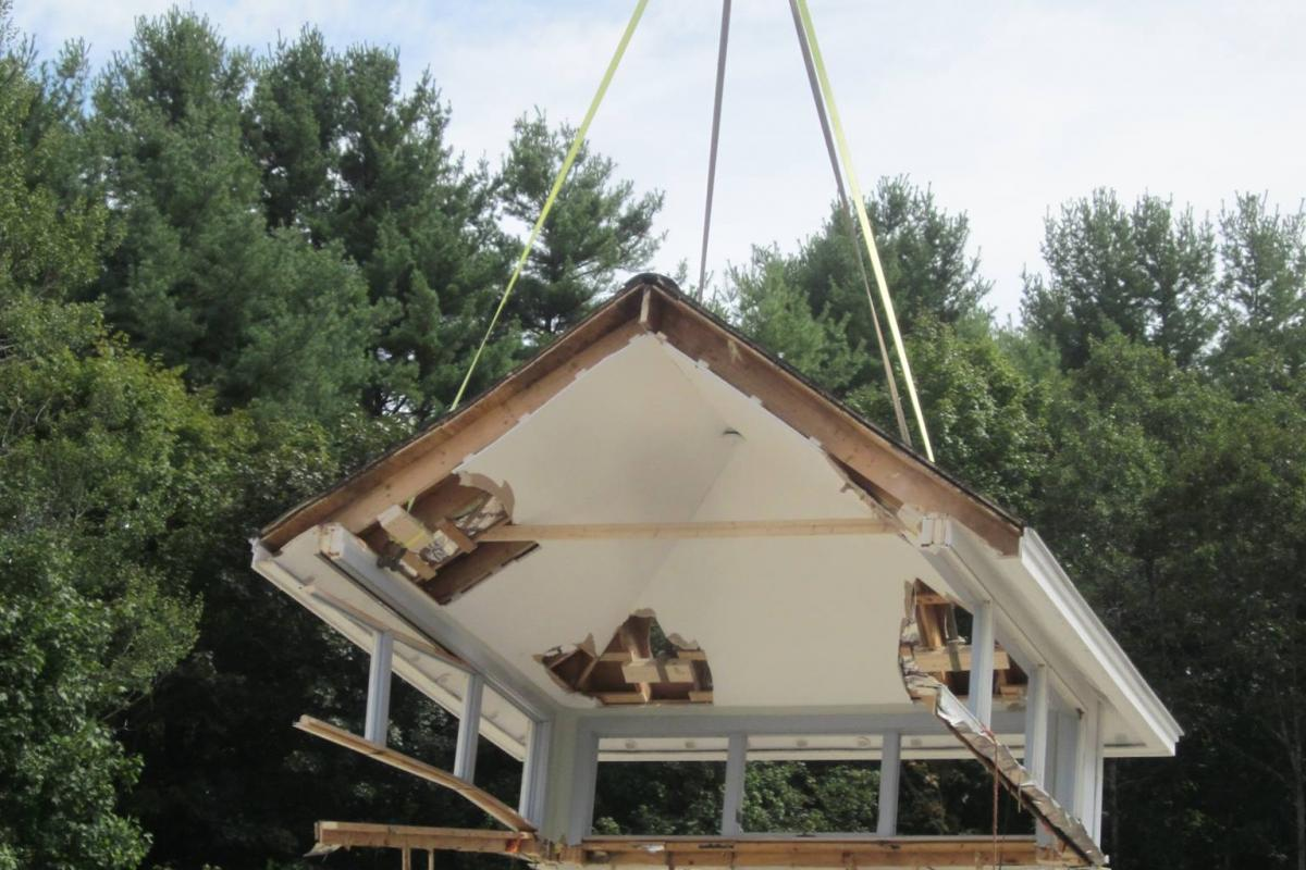 photo of cupola being removed